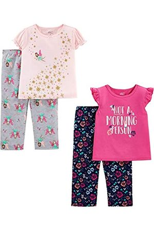 Simple Joys by Carter's 4-Piece Loose Fit Flame Resistant Polyester Pajama Set, Fairy/Floral, 2T