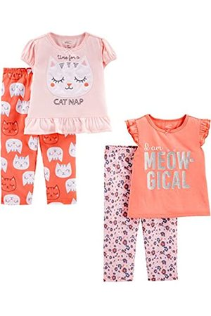 Simple Joys by Carter's 4-Piece Loose Fit Flame Resistant Polyester Pajama Set, Kitty/Animal Print, 3T