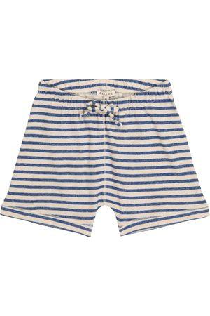 Caramel Shorts Piranha a righe in cotone e lino