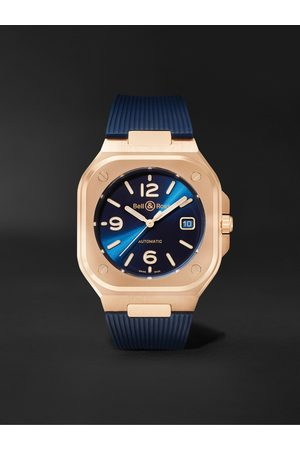 Bell & Ross BR 05 Gold Automatic 40mm 18-Karat Rose Gold and Rubber Watch, Ref. No. BR05A-BLU-PG/SRB