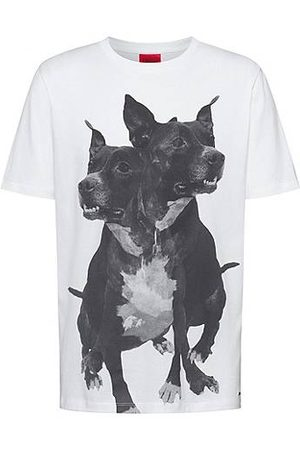 HUGO BOSS T-shirt regular fit in cotone con stampa con cani