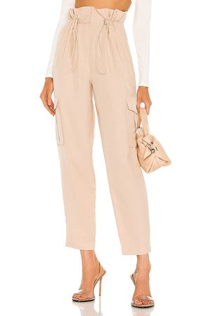 h:ours Shaye Paperbag Cargo Pant in - Ivory. Size L (also in M, S, XL, XS, XXS).