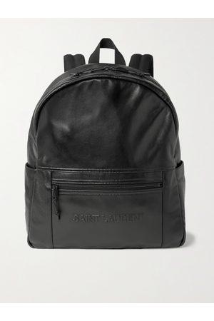 Saint Laurent Logo-Embossed Leather Backpack