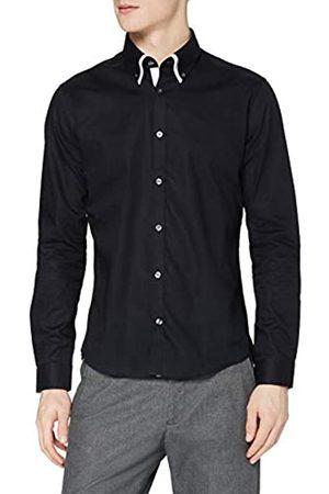 T-Shirts Camicia in Cotone Slim Fit con Doppio Colletto Uomo, , L, Label: L