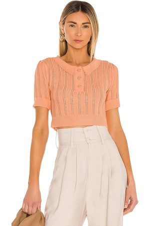 For Love & Lemons Phoebe Pointelle Polo Sweater in - Peach. Size L (also in XS, S, M).