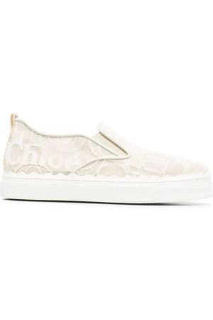 Chloé Donna Stringate e mocassini - Sneakers senza lacci Lauren con ricamo - Toni neutri