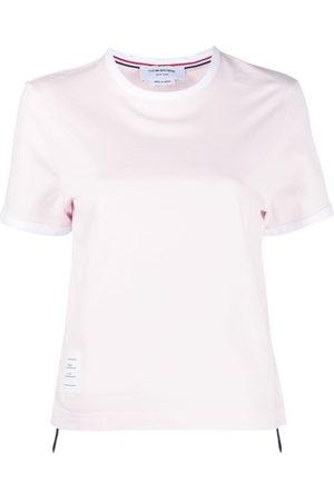 Thom Browne Donna T-shirt a maniche corte - Asymmetric hem short-sleeve T-shirt - 680 LT PINK