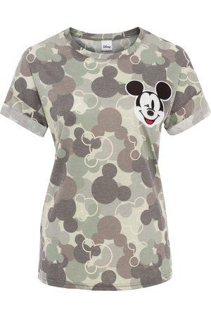 Disney Donna T-shirt a maniche corte - Maglia camouflage con Mickey Mouse