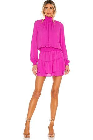 krisa Turtleneck Ruffle Skirt Dress in - Purple. Size L (also in XS, S, M).