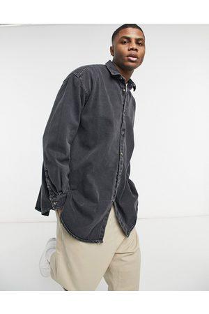 ASOS Camicia di jeans super oversize grigia con cuciture a contrasto