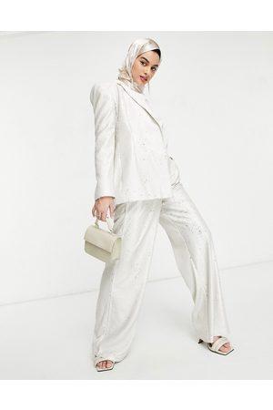 ASOS Pantaloni da abito premium con fondo ampio crema con paillettes