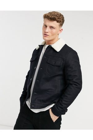 River Island Giacca western in pile borg, colore navy
