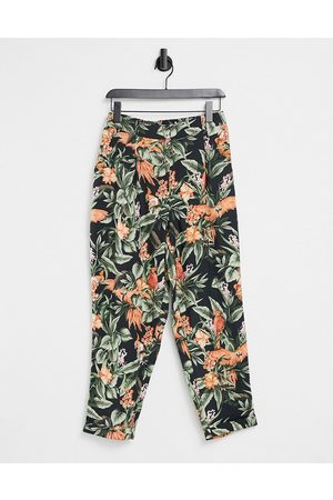 Oasis Pantaloni con pinces e stampa tropicale