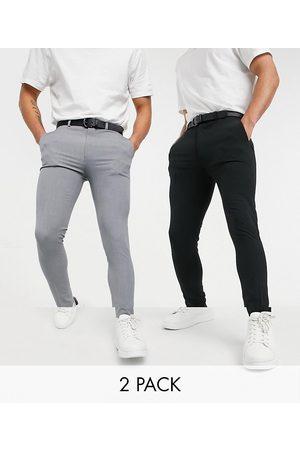 ASOS Confezione multipack di pantaloni eleganti super skinny nero e grigio