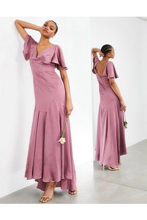 ASOS Vestito lungo in raso con maniche a volant rosa orchidea