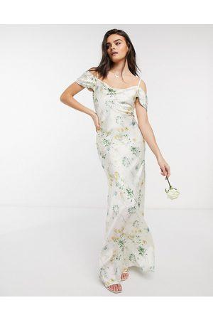 HOPE & IVY Vestito da damigella lungo con scollo ad anello e spalle scoperte avorio a fiori