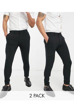 ASOS Confezione multipack di pantaloni eleganti super skinny neri