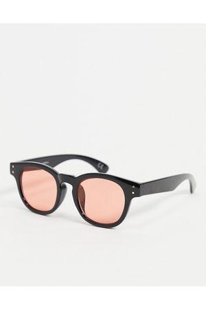 ASOS Occhiali da sole rotondi neri con lenti rosa