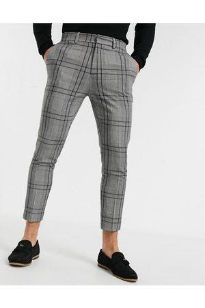 New Look Pantaloni corti skinny eleganti grigi a quadri
