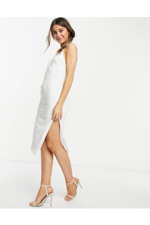 Bardot Vestito midi accollato con schiena scoperta e spacco alla coscia avorio