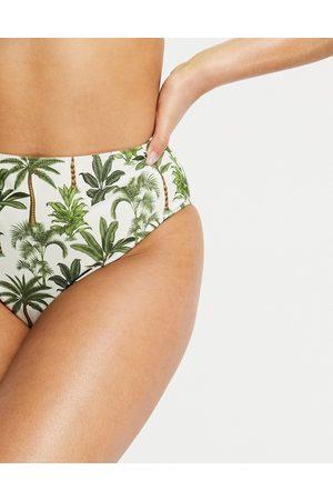 warehouse Slip bikini crema con stampa tropicale