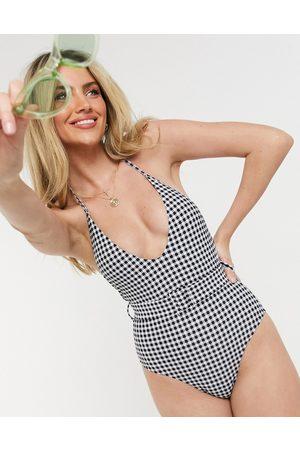 New Look Costume da bagno a quadretti con cintura
