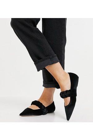 ASOS Liberty - Ballerine Mary Jane a pianta larga a punta con cinturino intrecciato in velluto