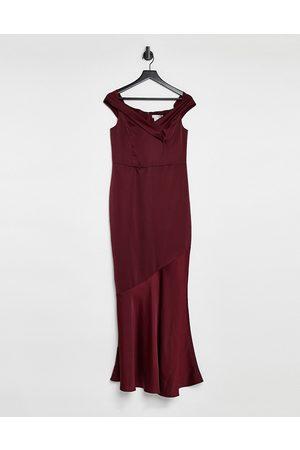 Oasis Vestito da damigella con scollo Bardot bordeaux