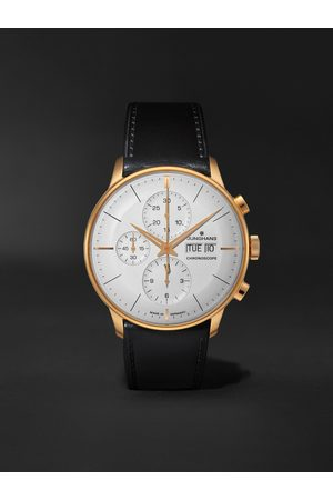 Junghans Uomo Orologi - Meister Chronoscope Automatic 41mm PVD-Coated Stainless Steel and Leather Watch, Ref. No. 027/7023.01