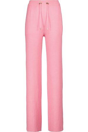 Balmain Pantaloni sportivi a vita alta in cashmere e seta