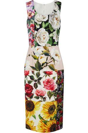 Dolce & Gabbana Abito midi a stampa floreale in seta stretch