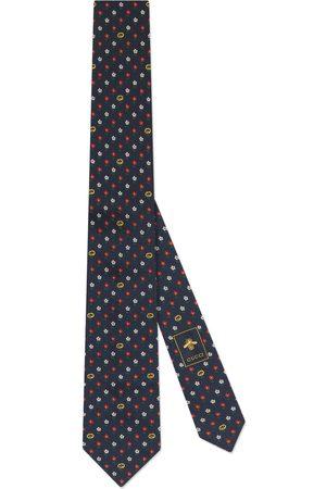 Gucci Cravatta in seta con GG e fiori