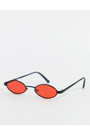 ASOS Occhiali neri anni '90 con mini lenti ovali rosse