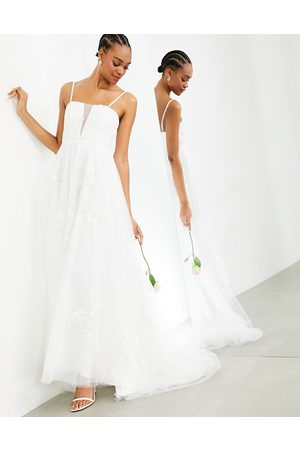 ASOS Margot - Vestito da sposa con scollo super profondo con fiori ricamati e bretelline sottili
