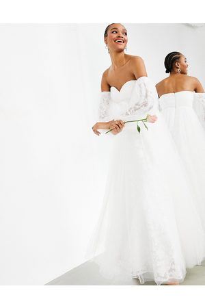 ASOS Mila - Vestito da sposa ricamato in rete con spalle scoperte