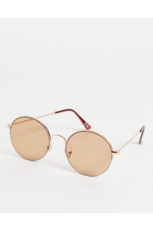 ASOS Occhiali da sole rotondi stile anni '70 color con lenti marrone chiaro