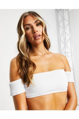 New Look Top bikini a coste con scollo alla Bardot
