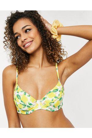 New Look Top bikini con ferretto e coppe morbide con stampa di limoni