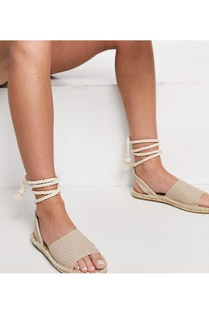 ASOS June - Sandali espadrilles a pianta larga con stringhe in tessuto naturale-Neutro
