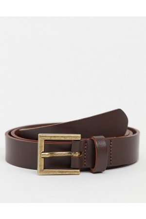 ASOS Cintura skinny in pelle con fibbia oro