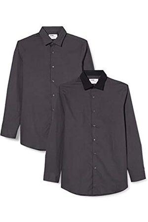 FIND Marchio Amazon - Camicia a Quadri Regular Fit Uomo, Pacco da 2, , 37 cm, Label: XS