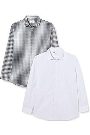 FIND Marchio Amazon - Camicia a Quadri Regular Fit Uomo, Pacco da 2, Mehrfarbig , 42 cm, Label: XL