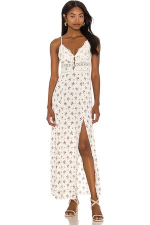 Free People Out And About Maxi Slip Dress in - Ivory. Size L (also in XS, S, M).