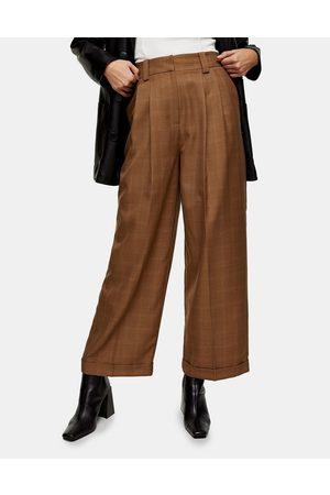 Topshop Pantaloni con fondo ampio kaki mélange