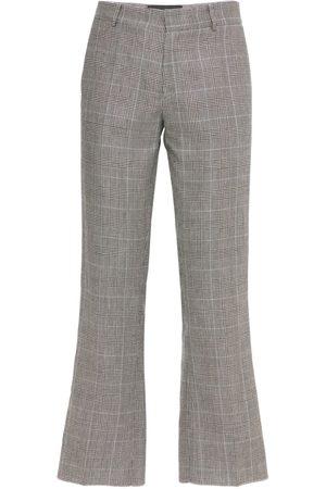 COOL Uomo Eleganti - Pantaloni Cropped In Lana E Lino Check