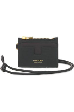 Tom Ford Porta Carte Di Credito In Pelle Con Zip E Logo