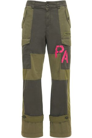 Palm Angels Pantaloni Cargo Military In Tela Patchwork