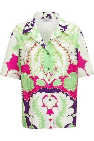 VALENTINO Camicia In Popeline Di Cotone Con Ricami