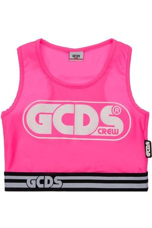 GCDS Bambina Tank top - Tank Top Cropped In Jersey Stretch