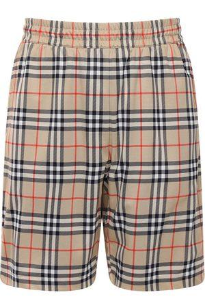 Burberry Shorts In Techno Check Con Fodera In Mesh